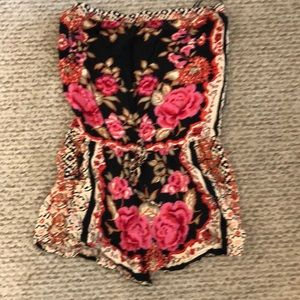Angie rose floral print strapless romper